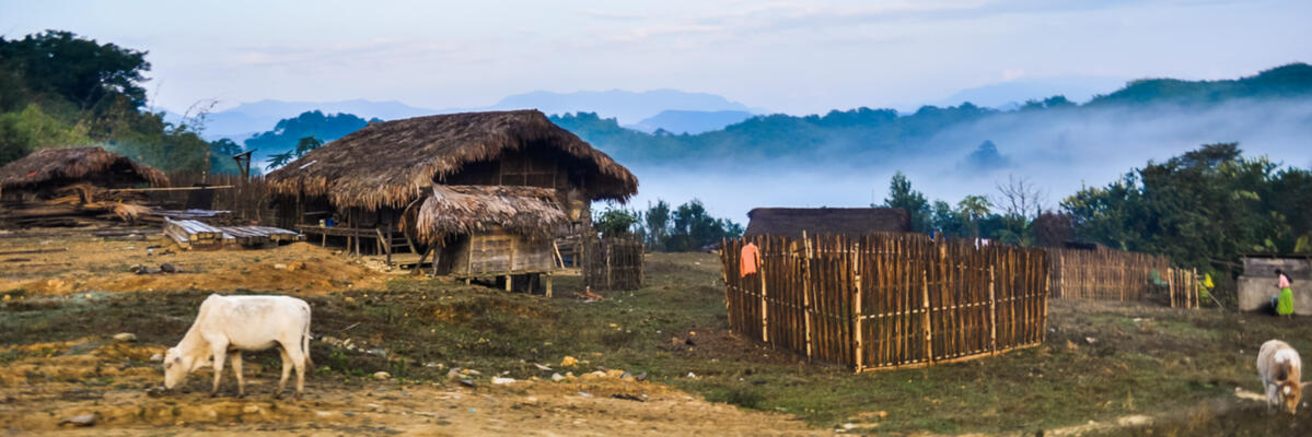 A mountaintop settlement above the town of Putao, Myanmar