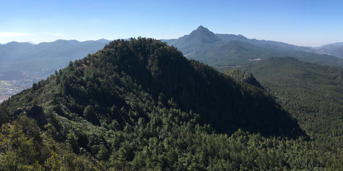 View from the north summit of Saddle Mountain, with Wenbi Mountain in the background