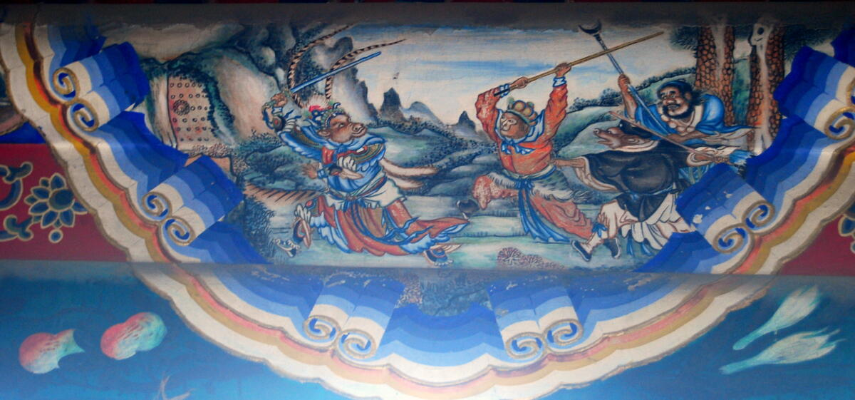 The battle of the Bull King and Sun Wukong. Painting in the Long Corridor of the Summer Palace in Beijing (source: Wikipedia)