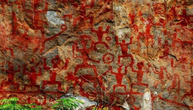 Stone paintings at Guangzi's Zuojiang Huashan Rock Art Cultural Landscape