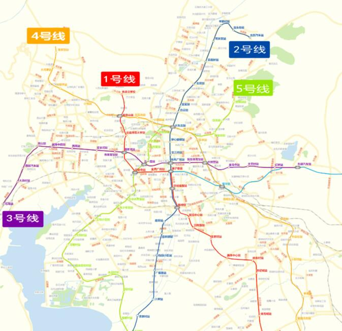 Kunming's planned and existing subway lines. Line 6, to the airport, is not shown fully.