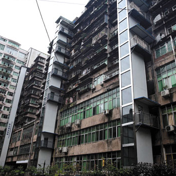 Three new external elevators in a Kunming apartment complex
