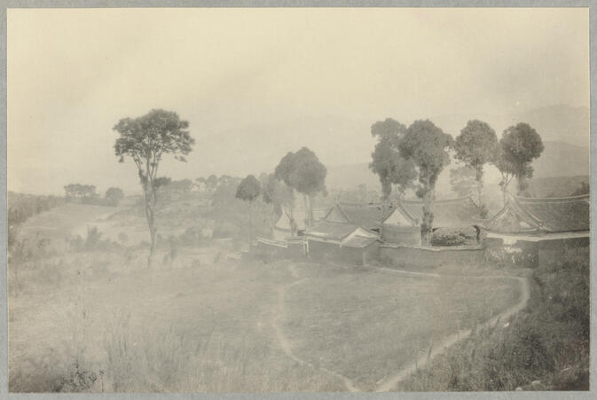 View of temple, hills, and trees March 10, 1922