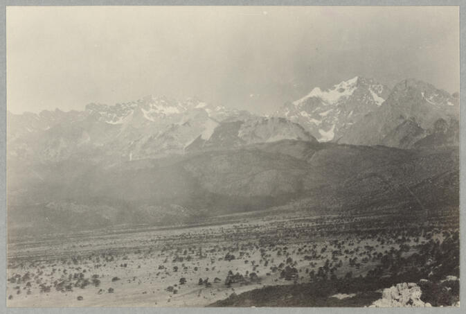 Mountains behind slope with vegetation May 1922