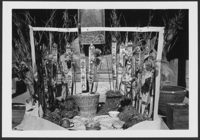 Nine houses of the Nagas altar erected for the Naxi Naga cult Ssu-ddü-gv ceremony Undated