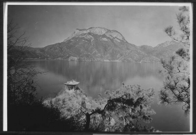 Pavilion on the island of Nyo-ro-p'u in Yung-ning Lake with Lion Mountain in the background Undated