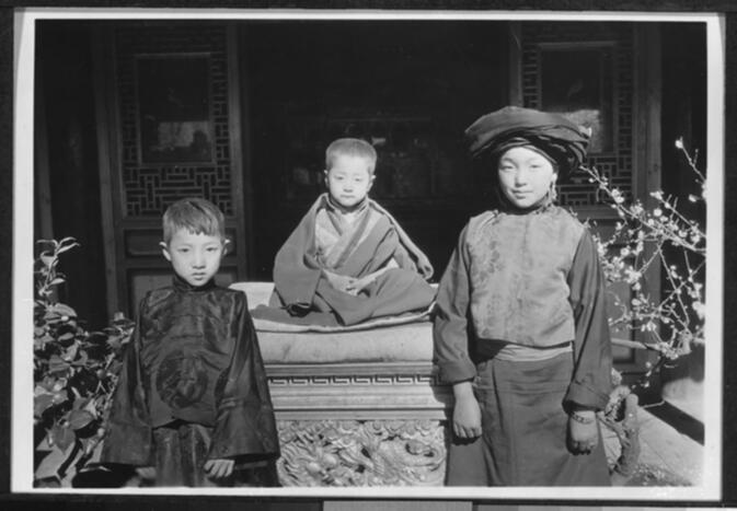 Incarnate Lama Lu Zo (center) with his brother and sister 1931 or 1932