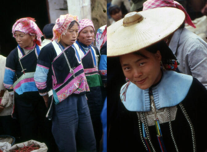 Yi (left) and Yao (right) minority women in Ameng, Yunnan