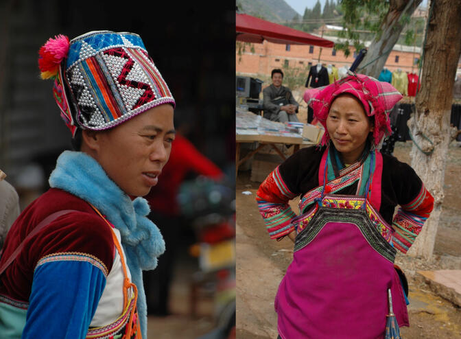 Two styles of Zhuang minority dress in Haizibian, Yunnan