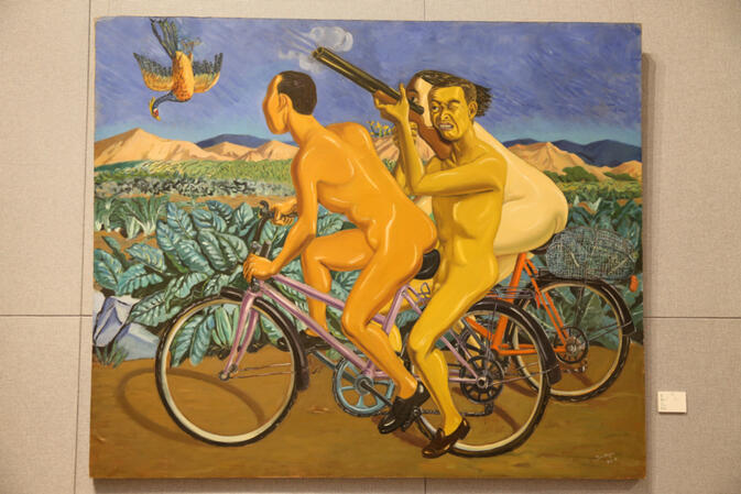 Picnic by Tang Zhigang (唐志冈), 150x180cm, oil on canvas 1995