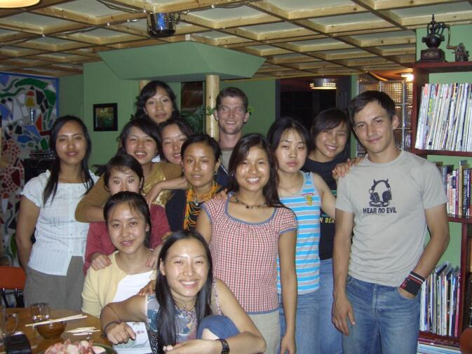 Salvador's Coffee House staff during the first year in Kunming