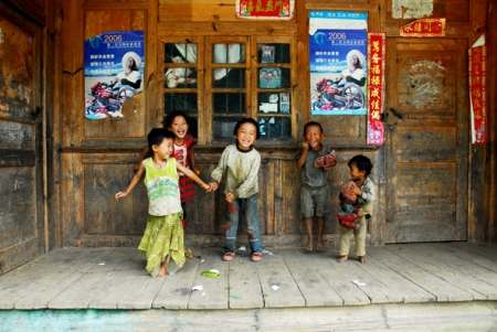 Laughing children, Wuli, Yunnan, 2009