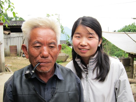 Grandfather Zhang with translator Zhang Lihui