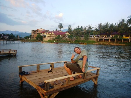 Chilling with a Beerlao in Vang Vieng
