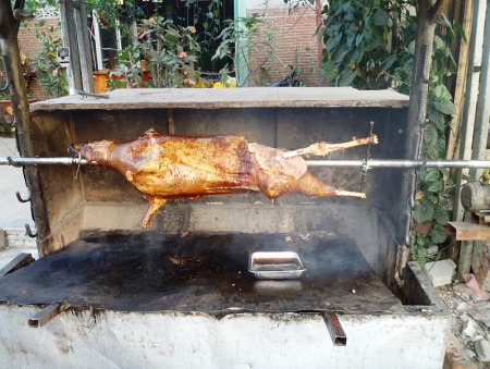 Barbecued goat at a roadside restaurant