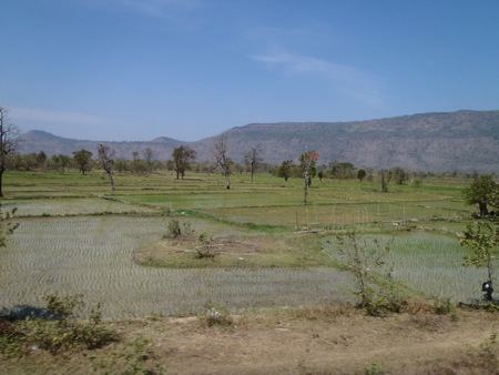 It was a relief to finally see some water and some green rice fields once we were close to Pakse