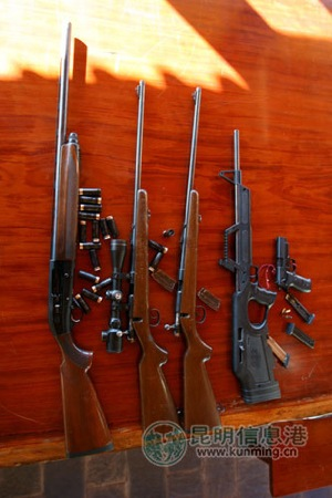 Some of the firearms at Lijiang Paradise