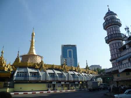 Sule Pagoda, with the bottom portion covered for reapplication of gold leaf