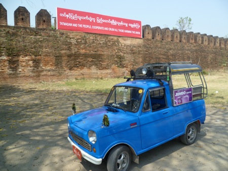 "One of Mandalay's many ""blue taxis,"" our rented vehicle for the day"
