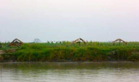 Huts along the Irrawaddy