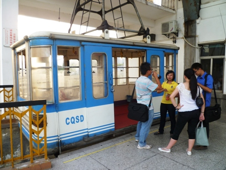 Preparing to board the cable car