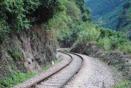 Railroad tracks zigzagging along the Chahe River (JA)