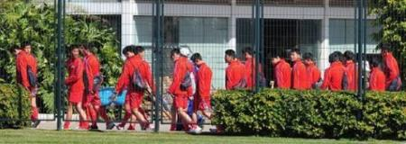 North Korean youth footballers walking off the pitch