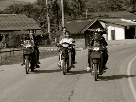 Most locals get around on motorcycles