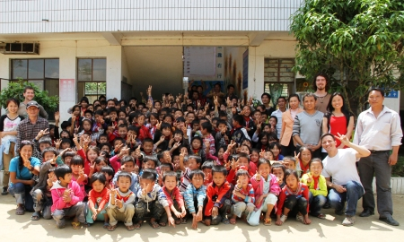 Students at the elementary school in Bangdong Village