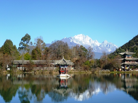 Lijiang's Black Dragon Pool, with Jade Dragon Snow Mountain in the background