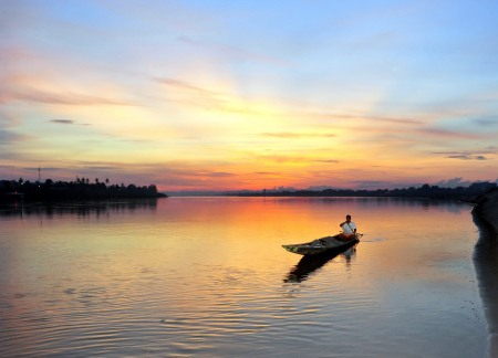 Sunset fishing on the Mekong River