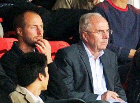 Sven-Göran Eriksson (r), turning heads in Guangzhou last weekend