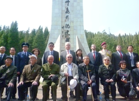 Honored guests at the Hump memorial in Jiaoye Park