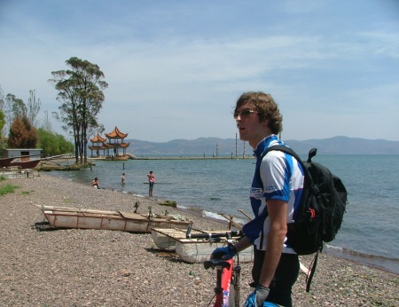 Sills after cycling to Fuxian Lake in 2008