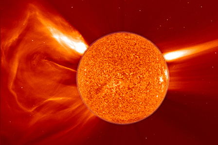 Time lapse of a solar coronal mass ejection in 2011
