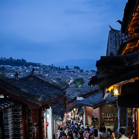 A view over Lijiang old town at dusk (photo: Michael Steverson)