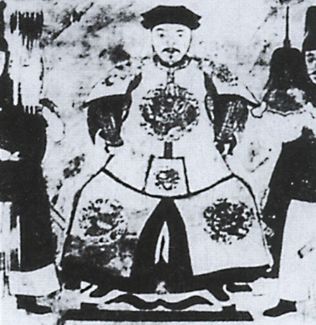 A woodblock print portrait of Wu Sangui