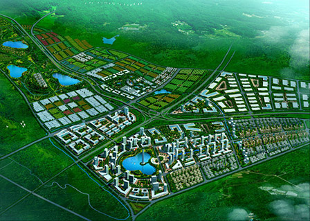 An artist's rendering of one section of Songming's existing industrial park