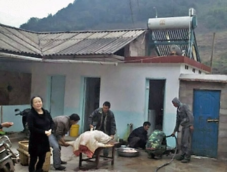 Villagers in Zhenyuan (镇沅) slaughtering a pig for shazhufan (photo courtesy of Jia Fan)