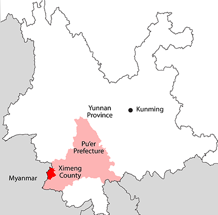 Ximeng's Location within Pu'er Prefecture and Yunnan Province