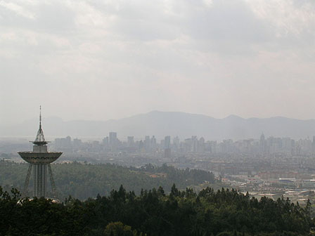 Smoggy Kunming seen from Golden Temple