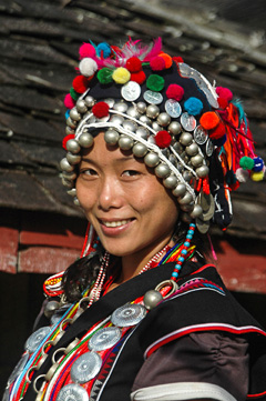 An Aini woman in traditional dress, Xishuangbanna