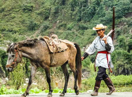 A Lisu farmer and his pony, Lumadeng
