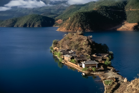 Peninsula town on Lugu Lake
