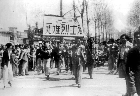 Protestors honoring the martyrs of December 1, 1945