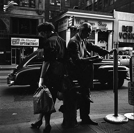New York (Leaning on Fireplug) by Vivian Maier (1955)