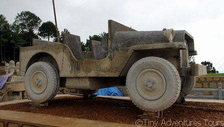 A concrete Jeep being built for the memorial
