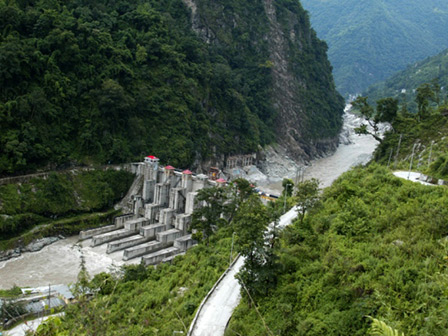 A dam on the Teesta River in India