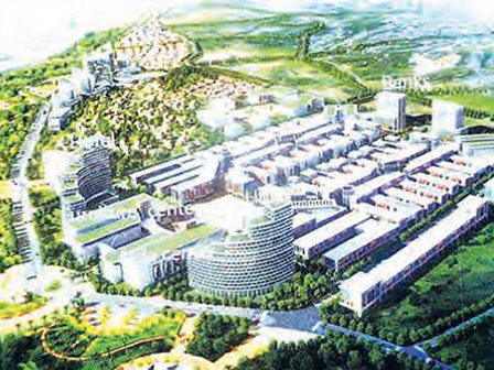 "Artist's rendering of the planned ""Central Economic Zone"" in Muse, Myanmar"