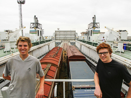 Chris Walker (left) and Morgan Hartley (right) on a cargo ship crossing the Caspian Sea